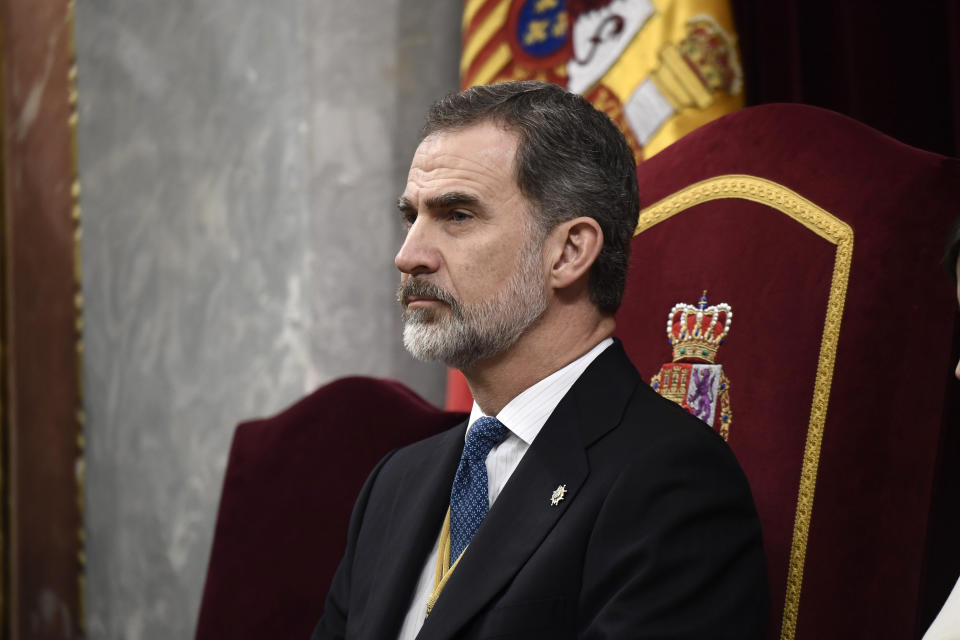 MADRID, SPAIN - FEBRUARY 03: King Felipe VI of Spain attends the solemn opening of the 14th legislature at the Spanish Parliament on February 03, 2020 in Madrid, Spain. (Photo by Carlos Alvarez/Getty Images)