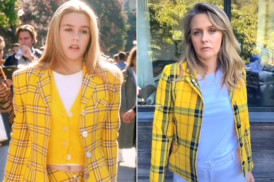 """<p>The actress made a splash in her <span>TikTok debut</span> in a dead ringer for the iconic yellow plaid jacket she wore in her role as Cher Horowitz. (She had <a href=""""https://people.com/style/alicia-silverstone-clueless-cher-lip-sync-battle/"""" rel=""""nofollow noopener"""" target=""""_blank"""" data-ylk=""""slk:a recreation made for her Lip Sync Battle episode"""" class=""""link rapid-noclick-resp"""">a recreation made for her <em>Lip Sync Battle </em>episode</a>, after <a href=""""https://www.youtube.com/watch?v=0GqdlZyWtrg"""" rel=""""nofollow noopener"""" target=""""_blank"""" data-ylk=""""slk:telling Vogue &quot;no one knows&quot;"""" class=""""link rapid-noclick-resp"""">telling <em>Vogue</em> """"no one knows""""</a> what happened to the original.)</p> <p>In the clip, Silverstone lip syncs her famous line, """"Ew, get off of me! Ugh, as if!"""" with an acting assist from her son Bear, 10.</p>"""
