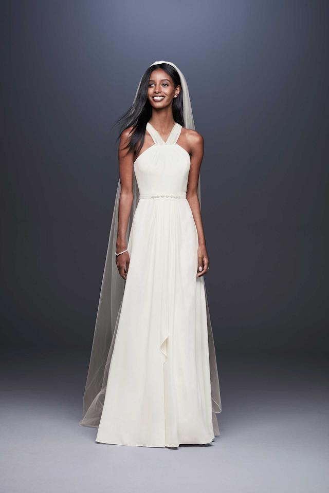<p>DB Studio halter dress, $200, available spring 2019 at David's Bridal </p>