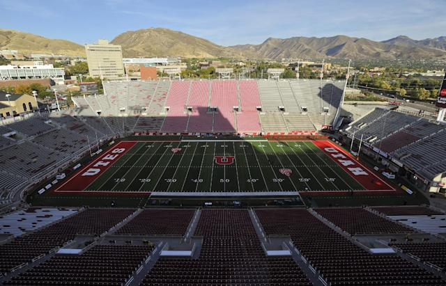 "SALT LAKE CITY, UT – OCTOBER 8: General view of Rice-Eccles Stadium, before the game between the <a class=""link rapid-noclick-resp"" href=""/ncaab/teams/aaq/"" data-ylk=""slk:Arizona Wildcats"">Arizona Wildcats</a> and the <a class=""link rapid-noclick-resp"" href=""/ncaaw/teams/uae/"" data-ylk=""slk:Utah Utes"">Utah Utes</a> on October 8, 2016 in Salt Lake City, Utah. (Photo by Gene Sweeney Jr/Getty Images)"