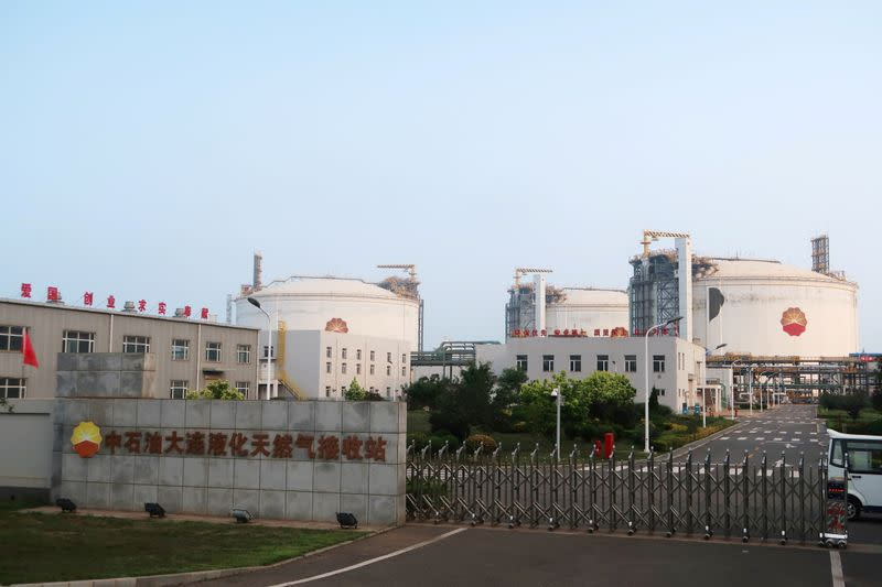 FILE PHOTO: Liquified natural gas (LNG) storage tanks are seen at PetroChina's receiving terminal in Dalian