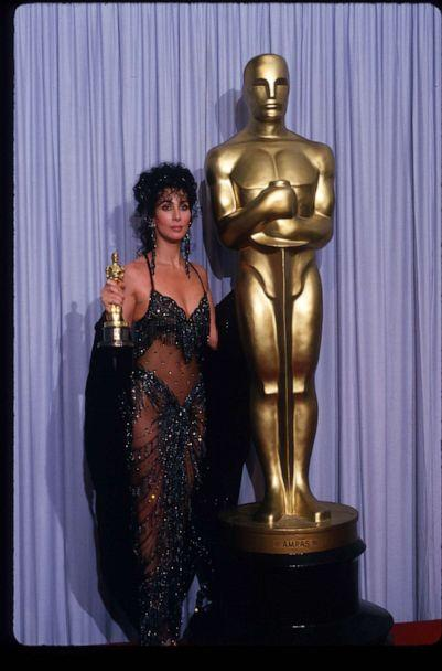 PHOTO: In this April 11, 1988, file photo, Cher holds her Best Actress in a Leading Role Oscar for 'Moonstruck' at the Academy Awards in Los Angeles. (John T. Barr/Liaison via Getty Images, FILE)