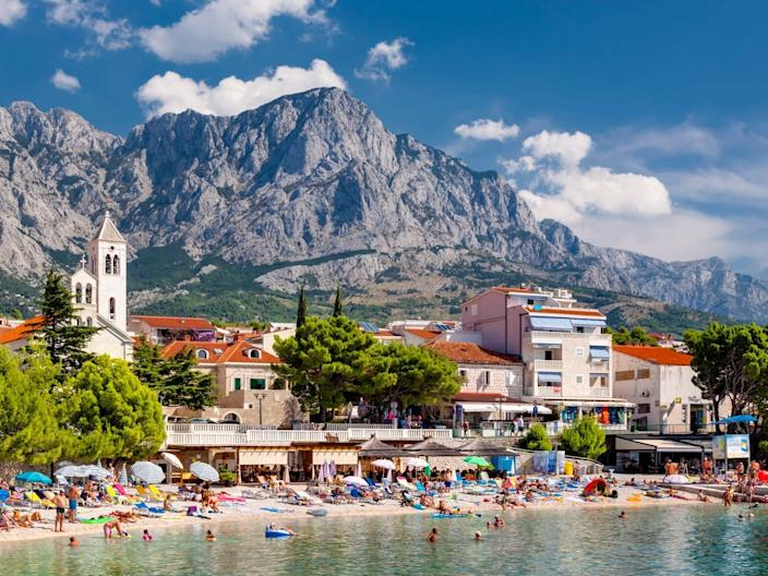 Baska Voda, a tourist town on the Makarska Riviera, Dalmatia, Croatia.