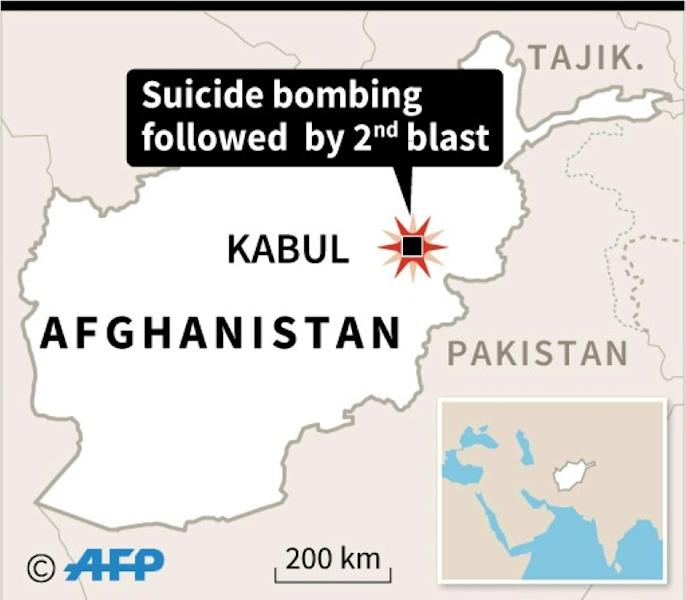 Map locating a suicide bombing in a wrestling club in Kabul Wednesday which was followed by a second blast
