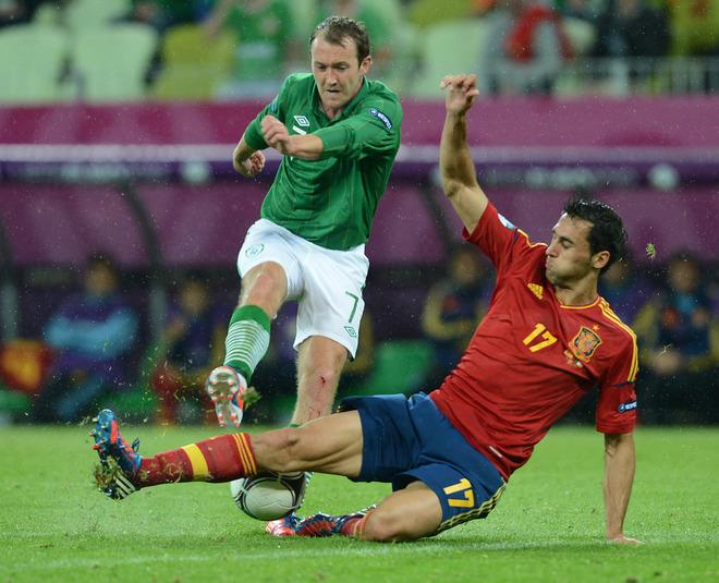 Irish midfielder Aiden McGeady (L) vies with Spanish defender Alvaro Arbeloa during the Euro 2012 championships football match Spain vs Republic of Ireland on June 14, 2012 at the Gdansk Arena. Spain won 4 to 0.                   AFP PHOTO / CHRISTOF STACHECHRISTOF STACHE/AFP/GettyImages