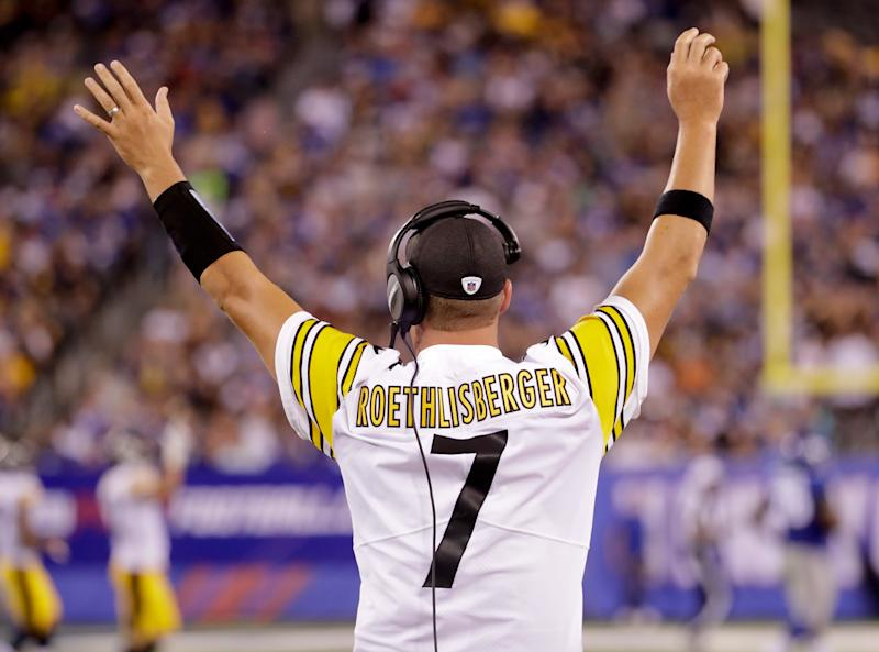 Ben Roethlisberger traded his shoulder pads for a headset in the first preseason game. At least ticket-buying fans got to see the Steelers star QB in a jersey.