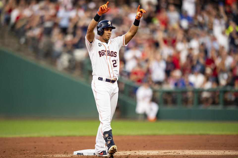 Michael Brantley celebrates his RBI double in the 2019 Major League Baseball All-Star Game at Progressive Field on July 9, 2019 in Cleveland, Ohio. (Photo by Billie Weiss/Boston Red Sox/Getty Images)