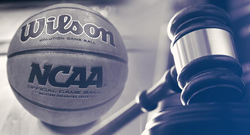 The federal trial against college hoops corruption continues on Monday. (Yahoo Sports illustration)