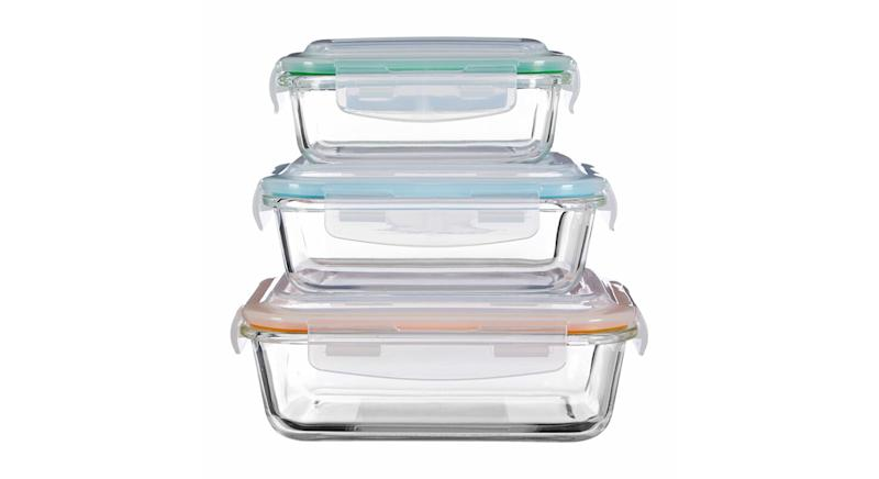 Rectangular Glass 3 Piece Food Storage Set