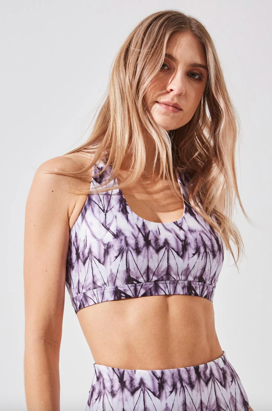 Exert Recycled Polyester Printed Medium Support Bra in Plum Origami Allover Print (Photo via MPG Sport)