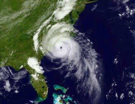 Hurricane Arthur is seen moving up the east coast of the United States in an image taken from NOAA's Goes-East satellite at 17:12EDT (21:12GMT) July 3, 2014. REUTERS/NOAA/Handout via Reuters