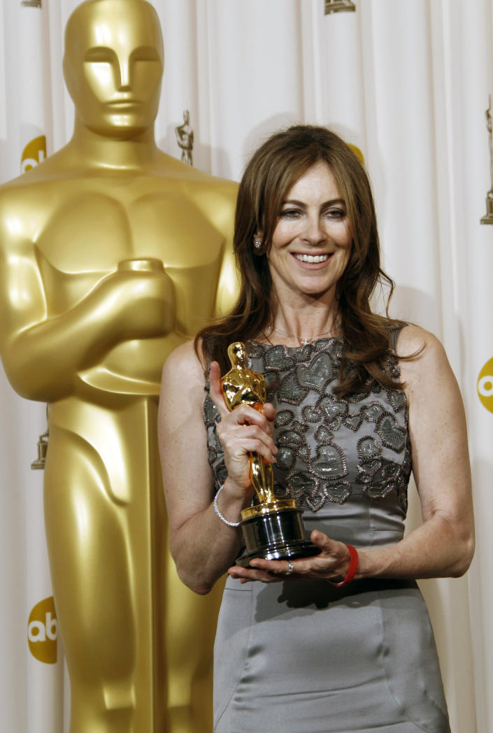 """FILE - In this March 7, 2010 file photo, director Kathryn Bigelow poses backstage with the Oscar for best achievement in directing for """"The Hurt Locker"""" at the 82nd Academy Awards in Los Angeles. Bigelow was the first and only woman to win an Oscar for best director. (AP Photo/Matt Sayles, File)"""