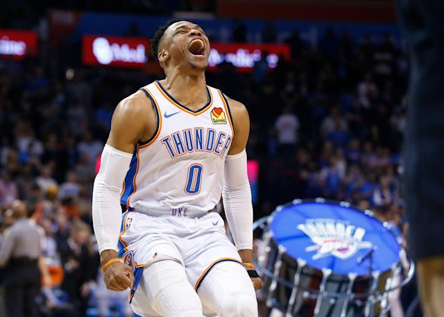 Russell Westbrook dedicated his historic night to late rapper Nipsey Hussle. (AP)
