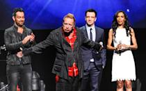 """Singer John Rotten Lydon, center, steals the show as Ben Forster, left, JC Chasez and Michelle Williams look on at the """"Jesus Christ Superstar"""" arena spectacular press conference and press performance to announce a North American arena tour on Friday, April 4, 2014 in New York. (Photo by Evan Agostini/Invision/AP)"""