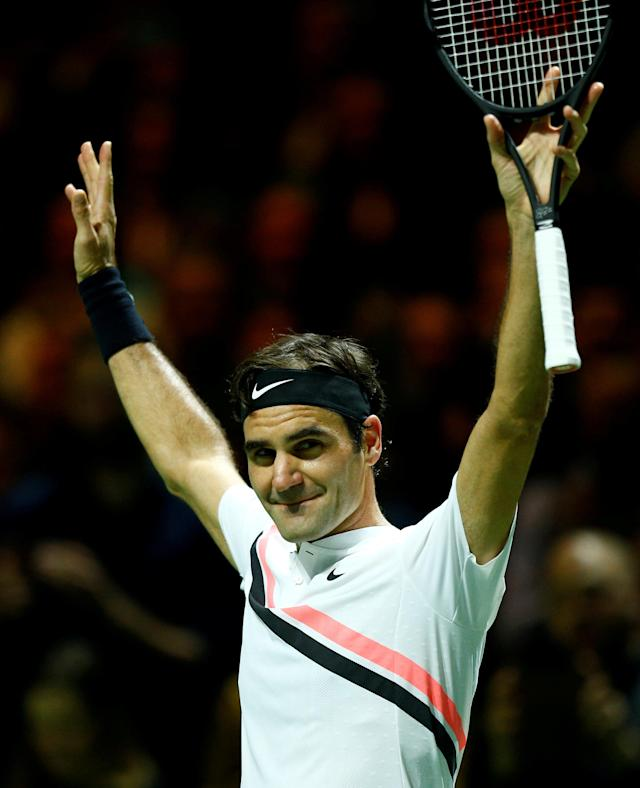 FILE PHOTO: Rotterdam, Netherlands - February 16, 2018 Roger Federer of Switzerland celebrates after defeating Robin Haase of the Netherlands. REUTERS/Michael Kooren/File Photo
