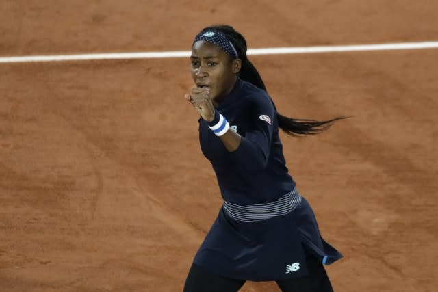 Coco Gauff clenches her fist after winning a point