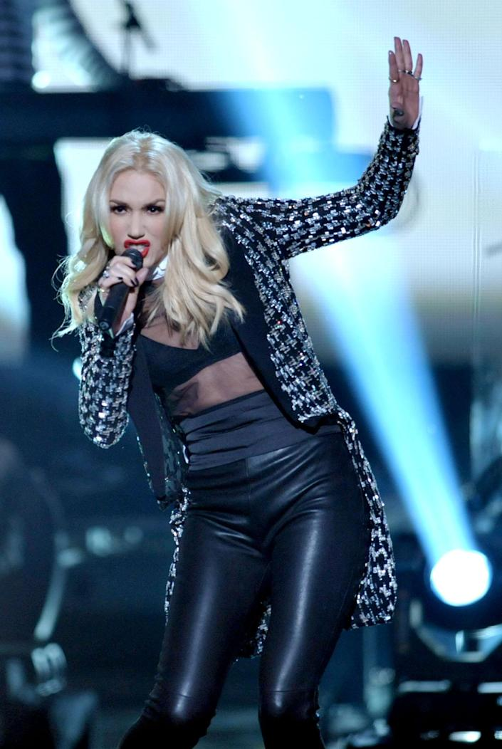 "Gwen Stefani of No Doubt performs ""Looking Hot"" at the 40th Annual American Music Awards on Sunday, Nov. 18, 2012, in Los Angeles. (Photo by John Shearer/Invision/AP)"