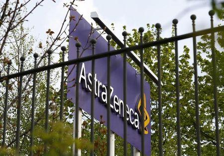 FILE PHOTO: A sign is seen at an AstraZeneca site in Macclesfield, central England April 28, 2014.   REUTERS/Darren Staples