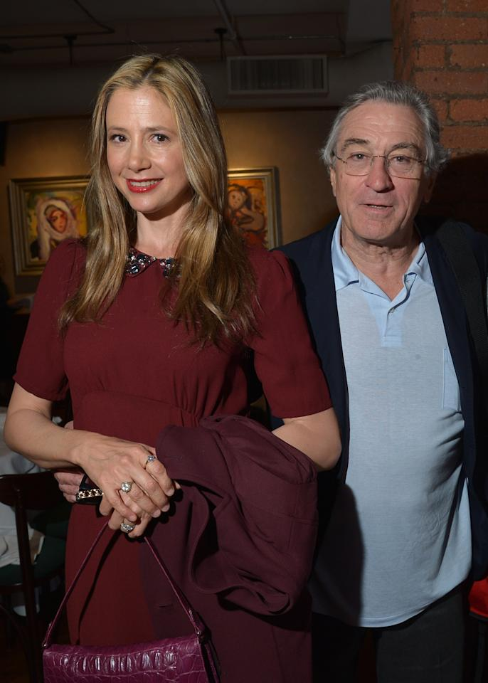 NEW YORK, NY - APRIL 18:  Mira Sorvino and Robert De Niro attend the Juror Welcome Lunch during the 2013 Tribeca Film Festival at Tribeca Grill Loft on April 18, 2013 in New York City.  (Photo by Mike Coppola/Getty Images)
