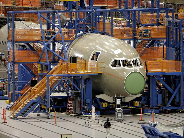 "A Boeing 787 Dreamliner being constructed at Boeing's Everett, Washington plant. <p class=""copyright"">Robert Sorbo/Reuters</p>"