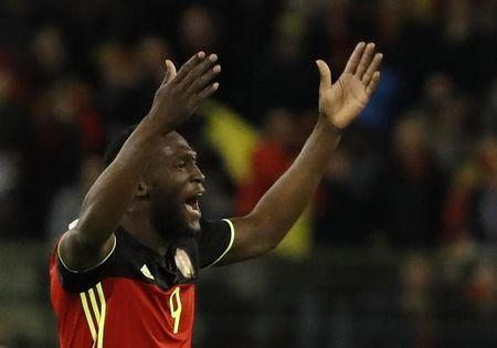 Belgium's Romelu Lukaku celebrates scoring their first goal