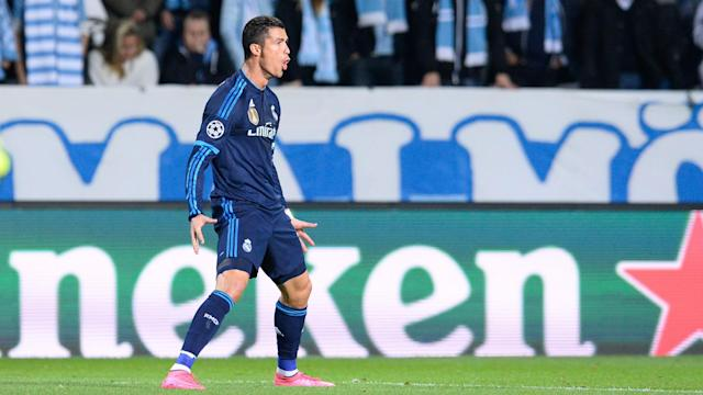 Real Madrid defeated Malmo 2-0 in the Champions League thanks to Cristiano Ronaldo's record-equalling double.