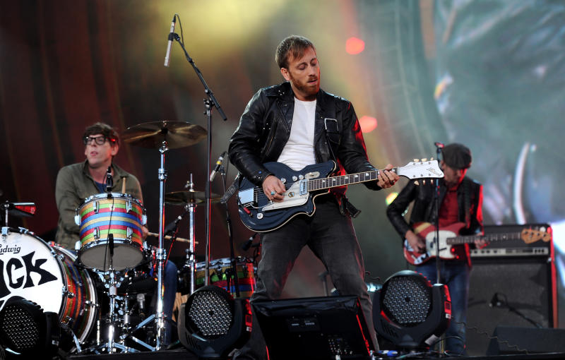 FILE - In this Sept. 29, 2012 file photo, guitarist Dan Auerbach, center, and drummer Patrick Carney of The Black Keys perform at the Global Citizen Festival in Central Park, in New York. The Black Keys are remaining vigilant when it comes to sound-a-like songs. The Nashville duo is suing Pinnacle Entertainment in New York federal court. (AP Photo by Evan Agostini/Invision/AP, File)