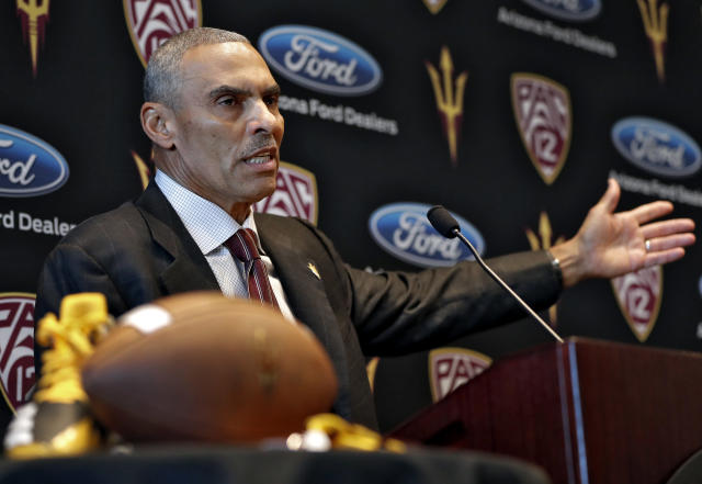Herm Edwards was introduced as Arizona State's head coach on Monday. (AP Photo/Matt York)