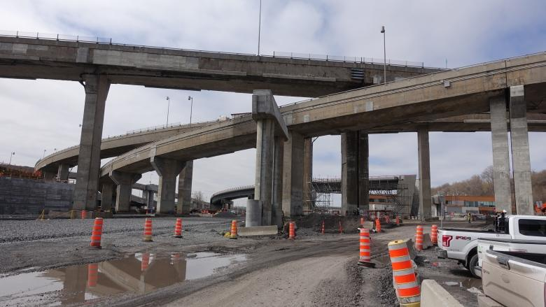 Bulldozers and cranes for 50th birthday of Turcot Interchange