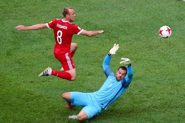 Denis Glushakov (8) and Russia earned three points against New Zealand in the 2017 Confederations Cup opener, but didn't exactly look impressive in doing so. (Getty)