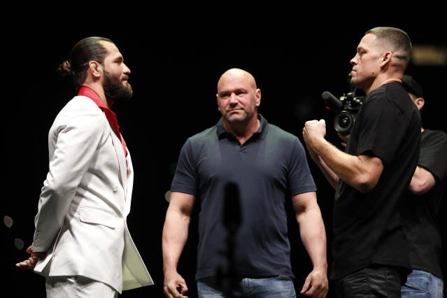Jorge Masvidal (L) and Nate Diaz will meet on Nov. 2 in the main event of UFC 244 at Madison Square Garden in New York. (Photo by Michael Owens/Getty Images)
