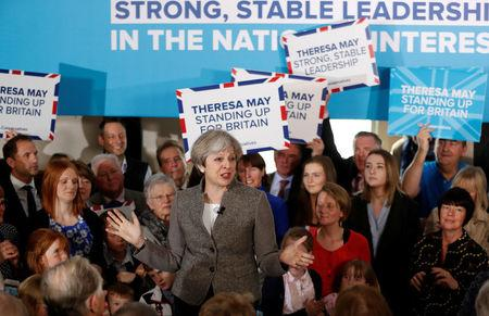 Britain's Prime Minister Theresa May speaks at an election campaign rally near Aberdeen in Scotland