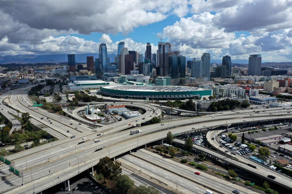 A general view of freeways leading into downtown Los Angeles after California issued a stay-at-home order due to coronavirus disease (COVID-19) in Los Angeles, California, on March 23, 2020.  (Lucy Nicholson/Reuters)