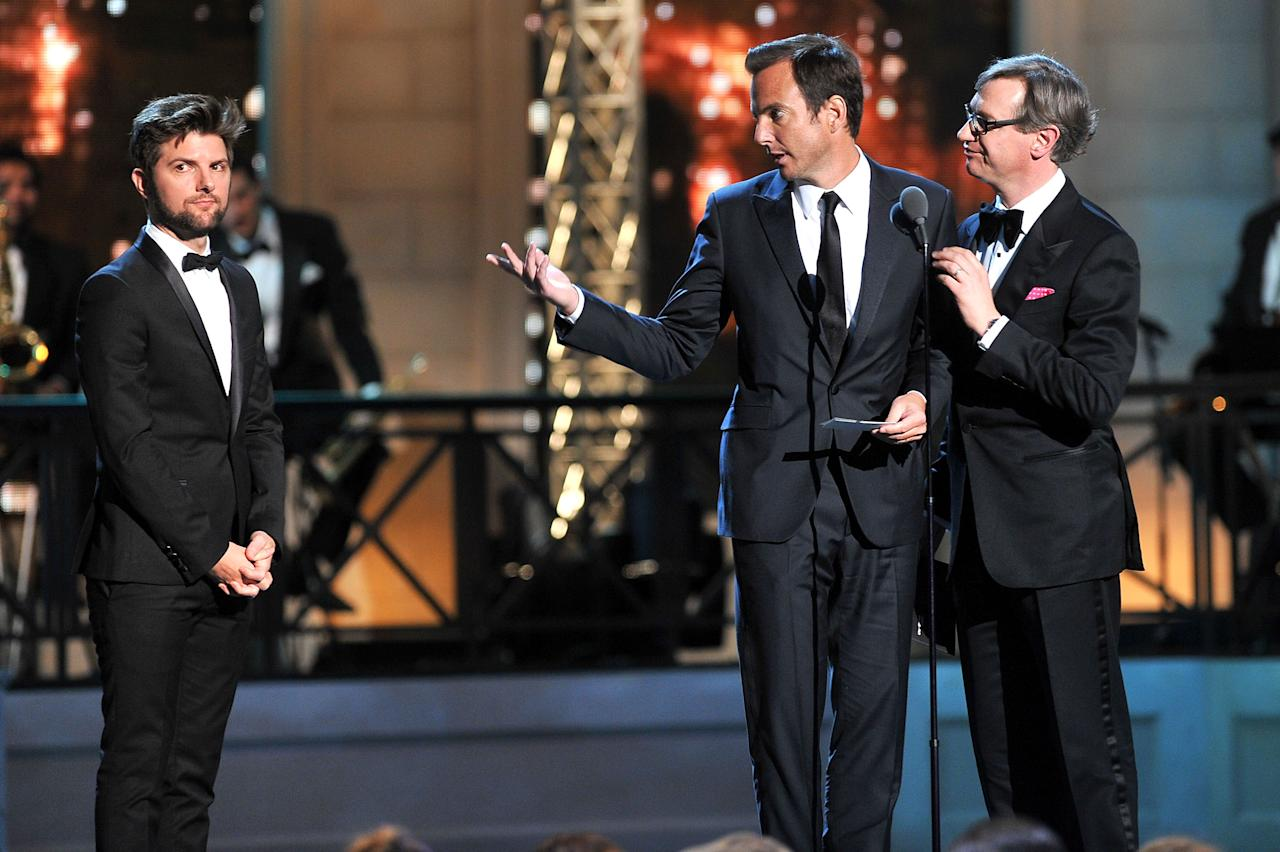 NEW YORK, NY - APRIL 28:  (L-R) Actor Adam Scott, actor Will Arnett and director Adam Scott speak onstage at The Comedy Awards 2012 at Hammerstein Ballroom on April 28, 2012 in New York City.  (Photo by Theo Wargo/Getty Images)