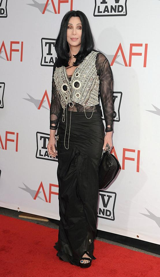 "<a href=""http://movies.yahoo.com/movie/contributor/1800023318"">Cher</a> attends the 38th Annual Lifetime Achievement Award Honoring Mike Nichols at Sony Pictures Studios on June 10, 2010 in Culver City, California."
