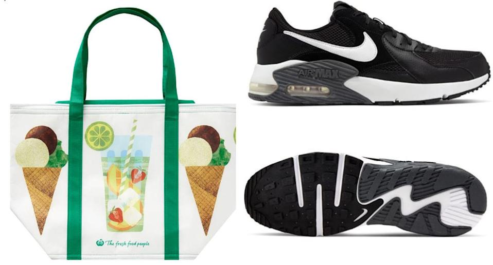 A Woolworths cooler bag and a pair of Nike runners are pictured.