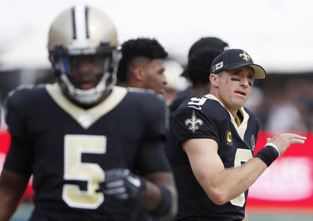 The Saints made a massive investment in Teddy Bridgewater, left, to fill in at quarterback just in case Drew Brees, right, went down. (Getty Images)