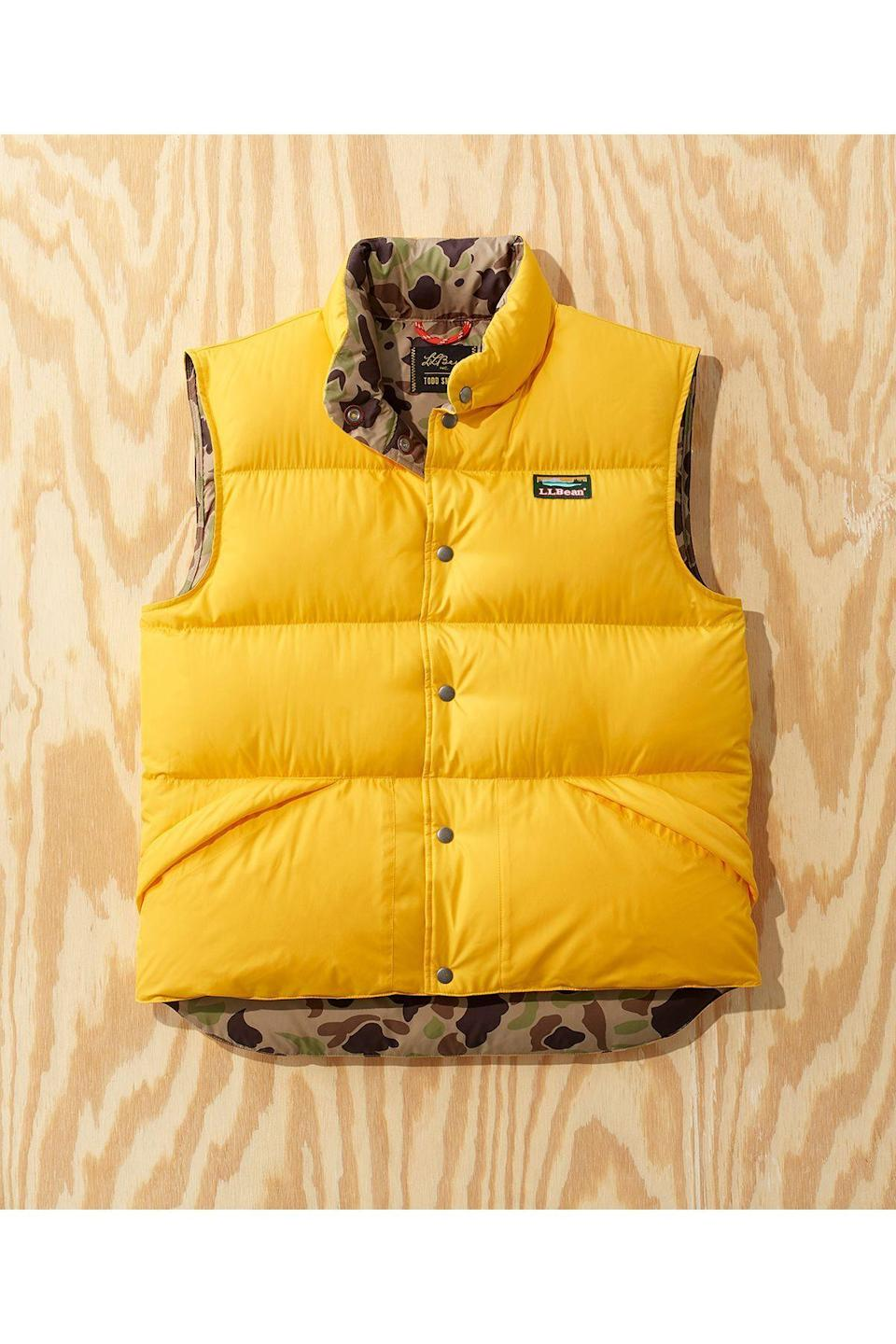 """<p><strong>L.L.Bean x Todd Snyder</strong></p><p>toddsnyder.com</p><p><strong>$169.00</strong></p><p><a href=""""https://go.redirectingat.com?id=74968X1596630&url=https%3A%2F%2Fwww.toddsnyder.com%2Fcollections%2Fl-l-bean-x-todd-snyder-two%2Fproducts%2Fllb-x-ts-puffer-vest-solid-gold&sref=https%3A%2F%2Fwww.townandcountrymag.com%2Fstyle%2Fmens-fashion%2Fg34524507%2Ftodd-snyder-and-ll-bean-collaboration%2F"""" rel=""""nofollow noopener"""" target=""""_blank"""" data-ylk=""""slk:Shop Now"""" class=""""link rapid-noclick-resp"""">Shop Now</a></p>"""