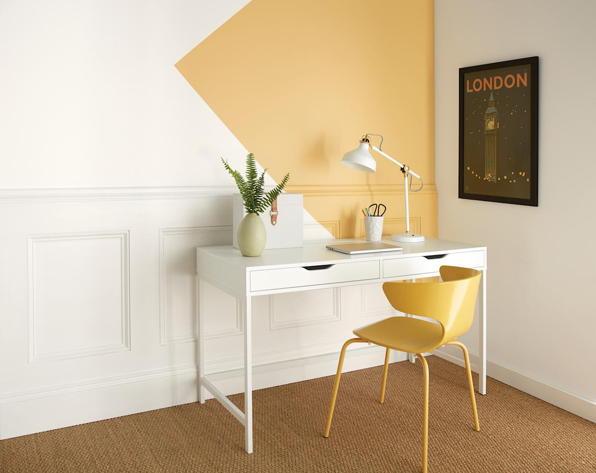 """<p>Bright and stimulating, yellow wall paint is a foolproof way to liven up an uninspired home office. """"A yellow hue, like <a href=""""https://www.behr.com/owner-manager/ColorDetailView/PPU6-14"""">Charismatic</a>, is sure to brighten up your workspace,"""" says Erika Woelfel, a color expert at <a href=""""https://www.behr.com/"""">Behr paint</a>. """"It infuses energy and optimism into a room to enhance creativity.""""</p>"""