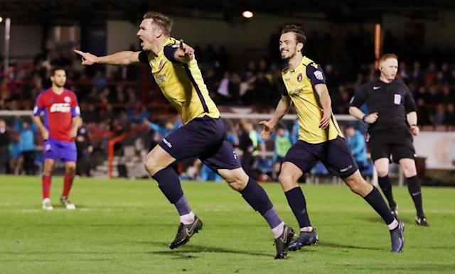 Soccer Football - National League Play-Off Eliminator - Aldershot Town v Ebbsfleet United - EBB Stadium, Aldershot, Britain - May 2, 2018 Ebbsfleet United's Dave Winfield celebrates scoring their first goal Action Images/Peter Cziborra
