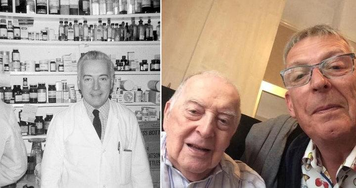 Jack Bowden with his son Mark (R) and when he worked as a pharmacist during WW2 (Picture: SWNS)