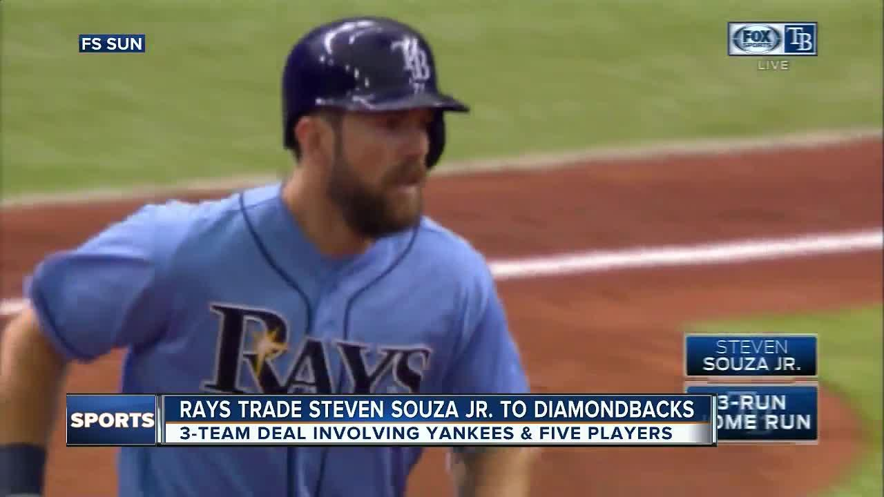 The Arizona Diamondbacks sent infielder Brandon Drury to the New York Yankees and received outfielder Steven Souza Jr. from the Tampa Bay Rays in a three-team trade Tuesday that included five players plus two to be named later.  The deal was announced one day after former Diamondbacks slugger J.D. Martinez agreed to a $110 million, five-year contract with Boston, pending a physical. Arizona has moved quickly to fill that hole in the outfield, signing speedy Jarrod Dyson to a $7.5 million, two-year contract on Monday before trading for Souza.  Souza will be the starter at one corner outfield position, with Dyson subbing at all three spots.  Drury gives the Yankees a new option at third base or second base, where New York was projected to start a pair of rookies.  Top pitching prospect Anthony Banda goes from Arizona to the Rays, who also get minor league second baseman Nick Solak from the Yankees and two players to be named from the Diamondbacks. Minor league right-hander Taylor Widener moves from New York to Arizona.