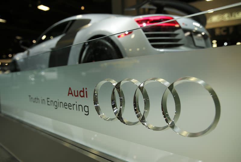 Audi four rings logo is seen with an R8 Competition coupe at Auto Show in Washington
