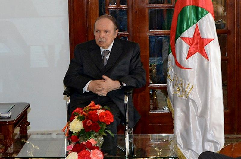 Algerian President Abdelaziz Bouteflika is seen at the presidential palace in Algiers, Tuesday, July 16, 2013. President Abdelaziz Bouteflika returned home Tuesday after 80 days of treatment in France following a stroke.(AP Photo)