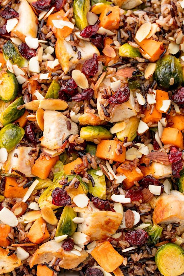 """<p>When you're craving all things fall, it's time for this healthy cass.</p><p>Get the recipe from <a rel=""""nofollow"""" href=""""https://www.delish.com/cooking/recipe-ideas/recipes/a55760/healthy-chicken-casserole-recipe/"""">Delish</a>.</p>"""