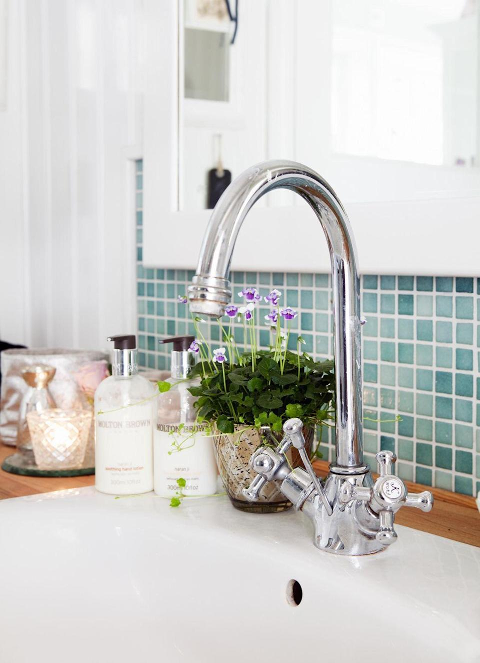 """<p>Even though you might think after washing your hands or the dishes the basin in your sink would be as clean as can be, you actually leave behind <a href=""""http://www.goodhousekeeping.com/home/cleaning/tips/a25748/cleaning-lies/"""" rel=""""nofollow noopener"""" target=""""_blank"""" data-ylk=""""slk:grime and bacteria"""" class=""""link rapid-noclick-resp"""">grime and bacteria</a> that sticks to the basin's walls. If you're serious about being clean, Forte says you should use an eraser-type sponge (like <a href=""""http://www.goodhousekeeping.com/home-products/g901/game-changing-cleaners/?slide=9"""" rel=""""nofollow noopener"""" target=""""_blank"""" data-ylk=""""slk:Mr. Clean Magic Eraser"""" class=""""link rapid-noclick-resp"""">Mr. Clean Magic Eraser</a>) to remove marks, then <a href=""""http://www.goodhousekeeping.com/home/cleaning/tips/a18464/kitchen-sink-cleaning-tips/"""" rel=""""nofollow noopener"""" target=""""_blank"""" data-ylk=""""slk:sanitize"""" class=""""link rapid-noclick-resp"""">sanitize</a> by plugging the drain, filling the basin with warm water, and swishing a tablespoon of bleach around. Let it sit for five minutes, then rinse and air dry.</p>"""