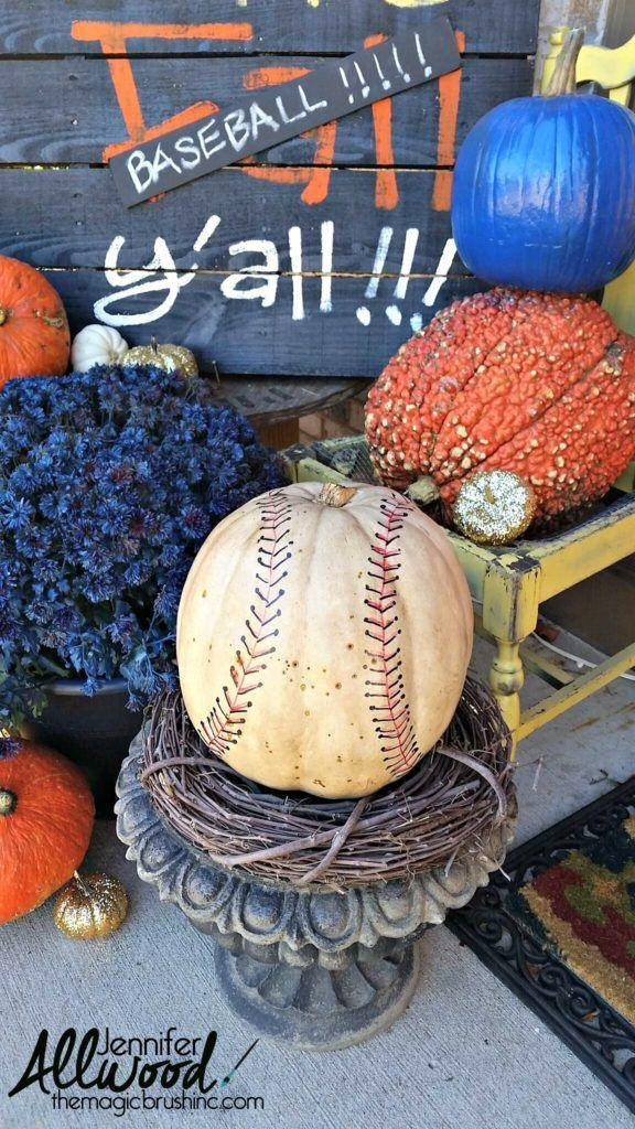 """<p>To make a white pumpkin with hand-drawn red stitching look like it's worn and weathered, bust out leftover wood stain and rub it all over. Genius, right? </p><p><em><a href=""""http://themagicbrushinc.com/baseball-pumpkin/"""" rel=""""nofollow noopener"""" target=""""_blank"""" data-ylk=""""slk:Get the tutorial at The Magic Brush »"""" class=""""link rapid-noclick-resp"""">Get the tutorial at The Magic Brush »</a></em></p>"""