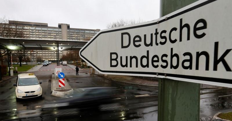 A sign is seen outside the headquarters Germany's federal bank Deutsche Bundesbank in Frankfurt