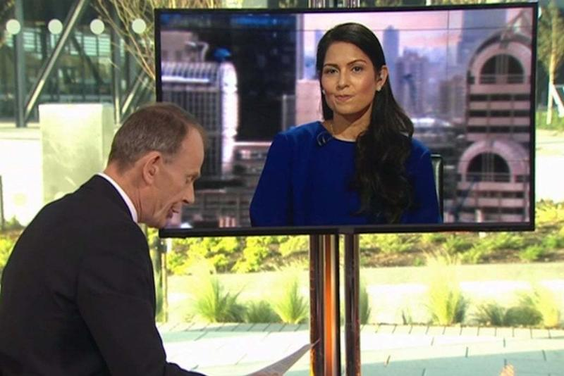 Priti Patel was accused of laughing by Andrew Marr: BBC / The Andrew Marr Show