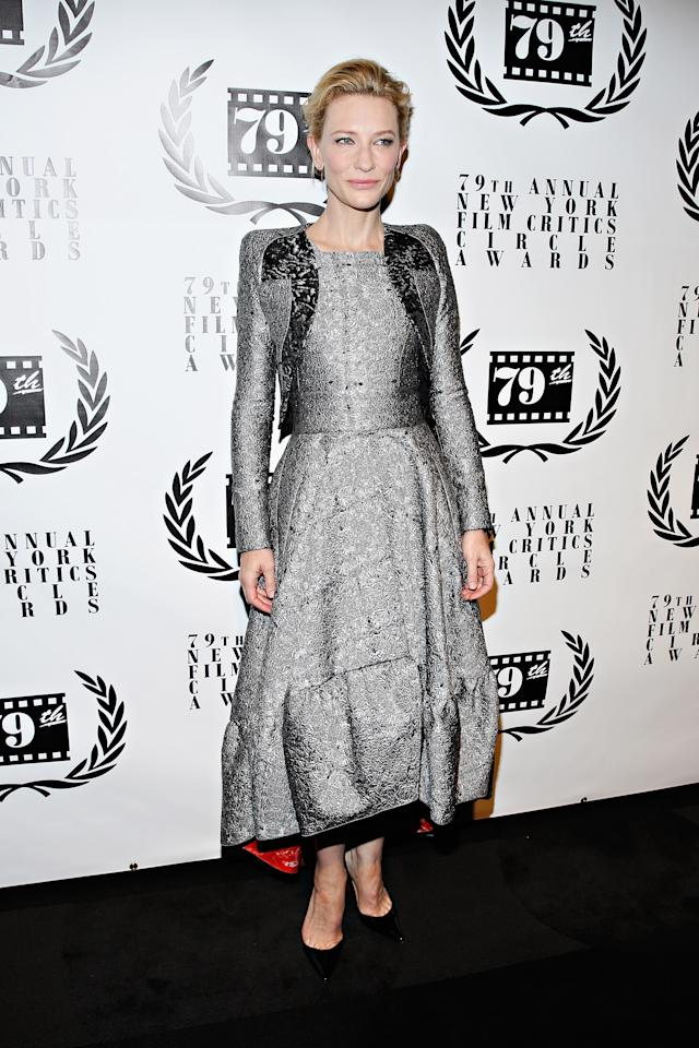 NEW YORK, NY - JANUARY 06: Actress Cate Blanchett attends the 2013 New York Film Critics Circle Awards Ceremony at The Edison Ballroom on January 6, 2014 in New York City. (Photo by Cindy Ord/Getty Images)